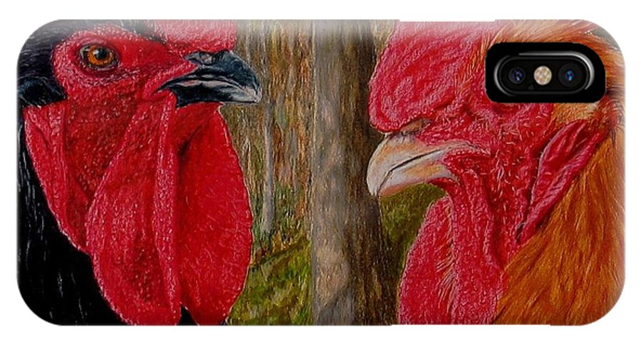 Roosters IPhone X Case featuring the painting Who You Calling Chicken by Karen Ilari