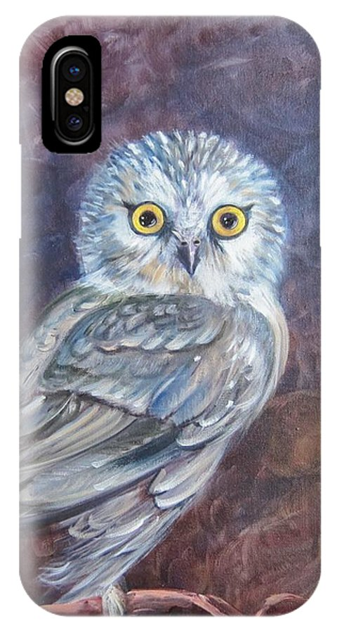 Bird IPhone X Case featuring the painting Who's Looking At You by Sherry Strong