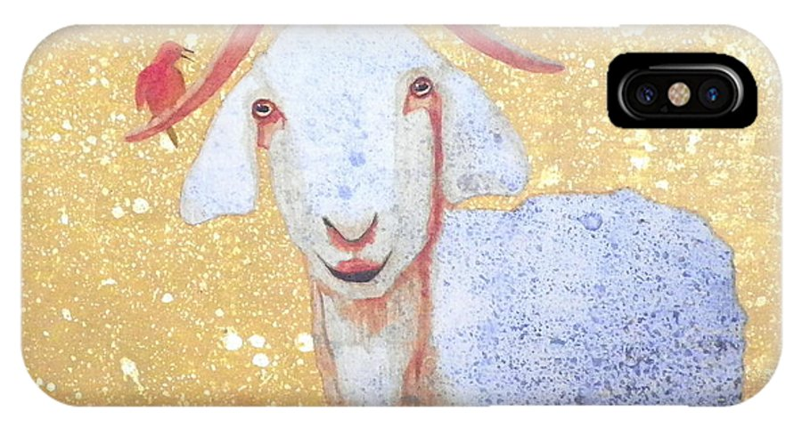 Goat IPhone X / XS Case featuring the painting Why Me by John Pinkerton