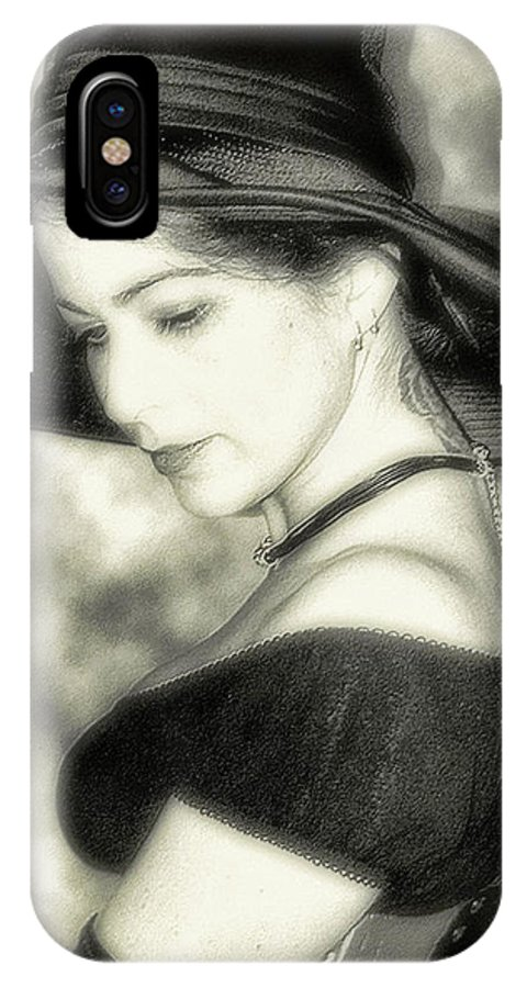 Black And White IPhone X Case featuring the photograph Wiccan Lady by Kristie Bonnewell