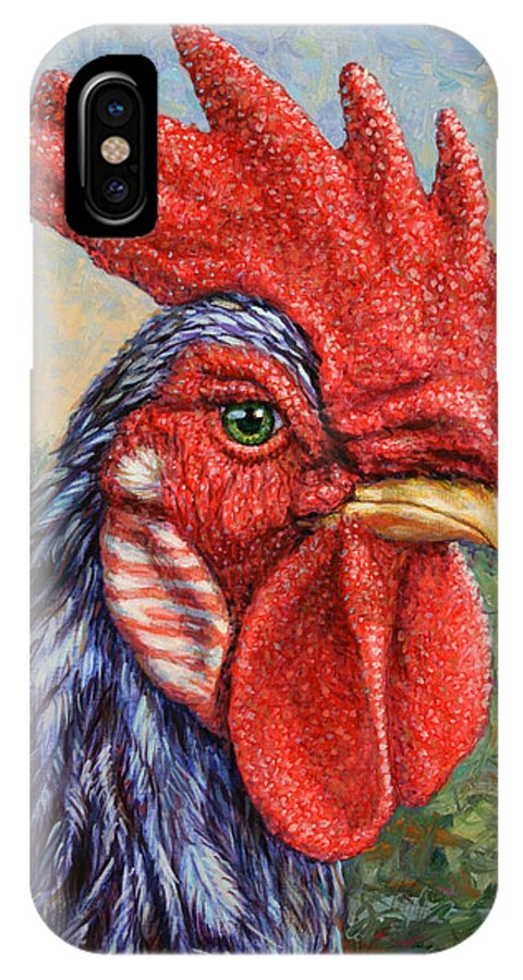Rooster IPhone X Case featuring the painting Wild Blue Rooster by James W Johnson