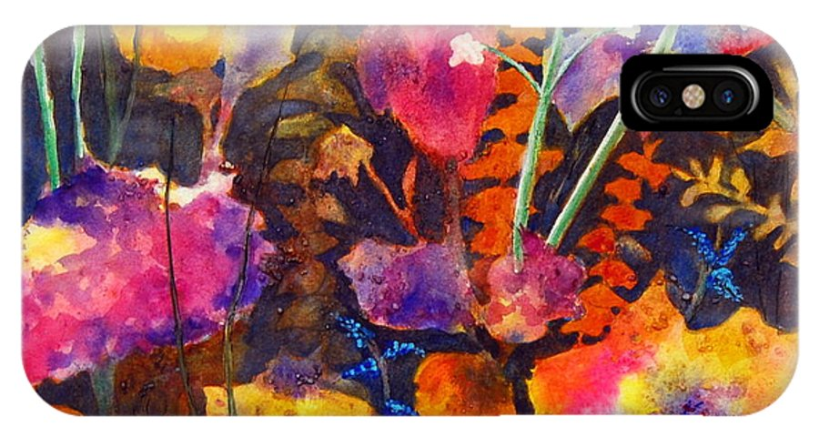 Abstract Floral IPhone X Case featuring the painting Wild Cottage Garden by Henny Dagenais