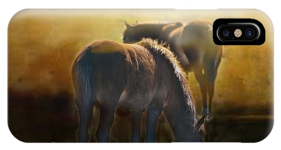 Wild Horses IPhone X Case featuring the photograph Wild Mustangs In The Mist by Michael Kennedy