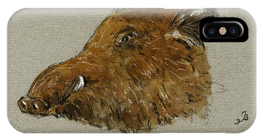 Wild IPhone X Case featuring the painting Wild Pig by Juan Bosco