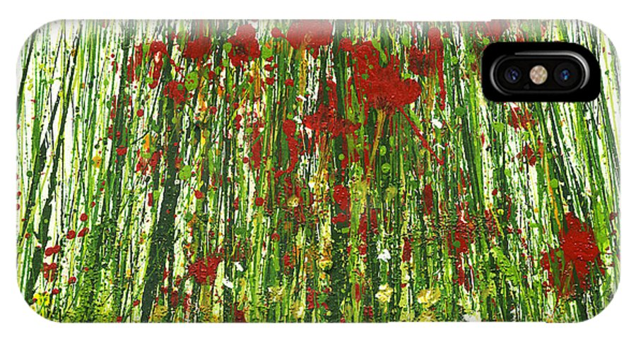 Wild Poppies Landscapes Flowers Abstract IPhone X Case featuring the painting Wild Poppies And Grasses No2 by Mike  Bell