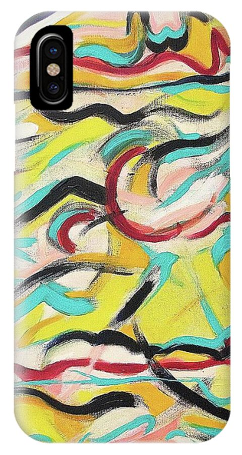 Yellow IPhone X Case featuring the painting Wild Stuff by Suzanne Marie Leclair