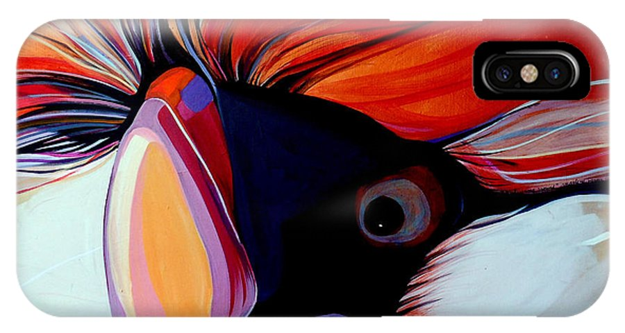 Bird IPhone X Case featuring the painting Wild Thang by Marlene Burns