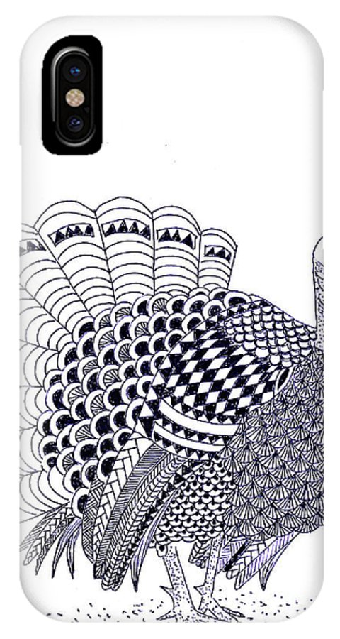 Thanksgiving IPhone X Case featuring the drawing Wild Turkey by Sandy Rosen