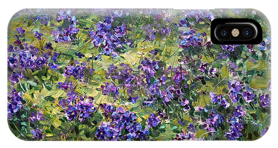 Violets IPhone X Case featuring the painting Wild Violets by Ylli Haruni