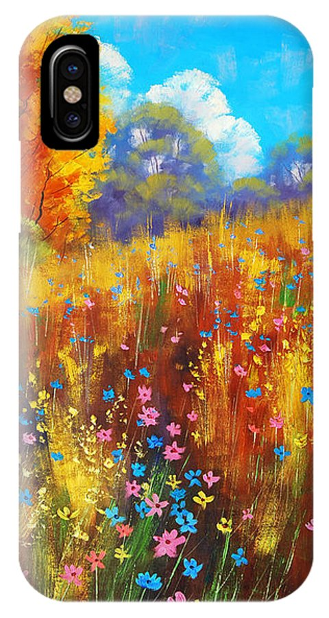 Spring Wildflowers IPhone X Case featuring the painting Wildflowers by Graham Gercken