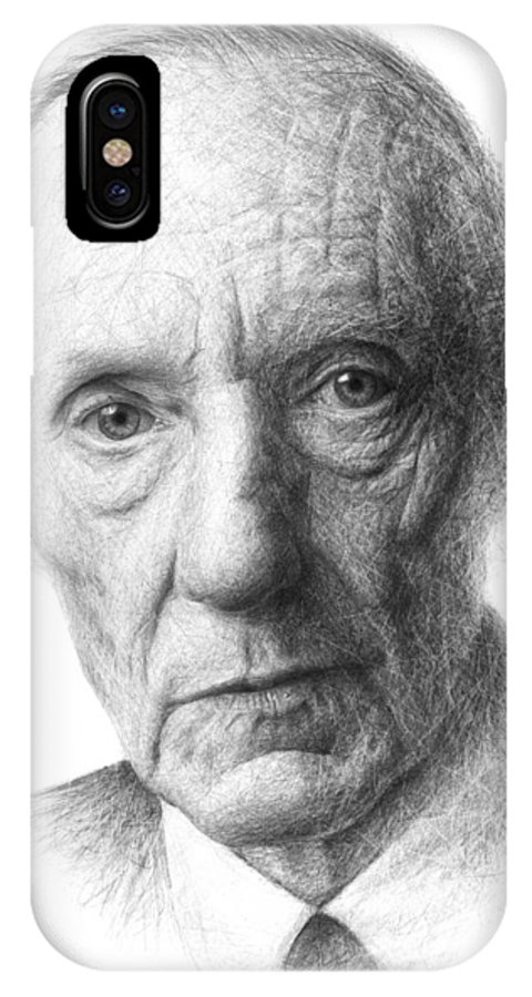 Portrait IPhone X Case featuring the drawing William S. Burroughs by Christian Klute