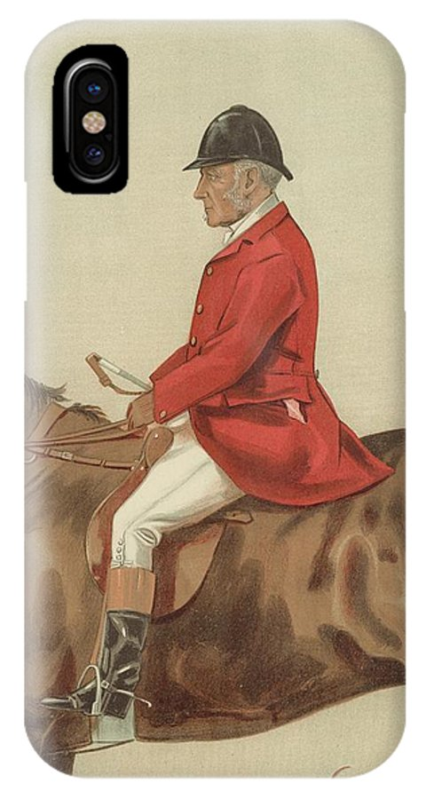 Caricature; William Ward Tailby; Leicestershire Man; 6 April 1899; Vanity Fair; Cartoon; Horse; Hunt; Hunting IPhone X Case featuring the painting William Ward Tailby by Sir Samuel Luke Fildes