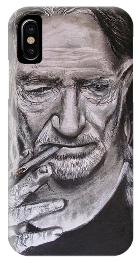 Willlie Nelson IPhone X Case featuring the drawing Willie Nelson - Doobie Brother by Eric Dee