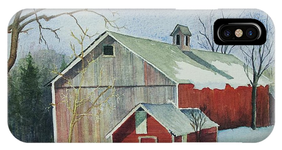 New England IPhone Case featuring the painting Williston Barn by Mary Ellen Mueller Legault