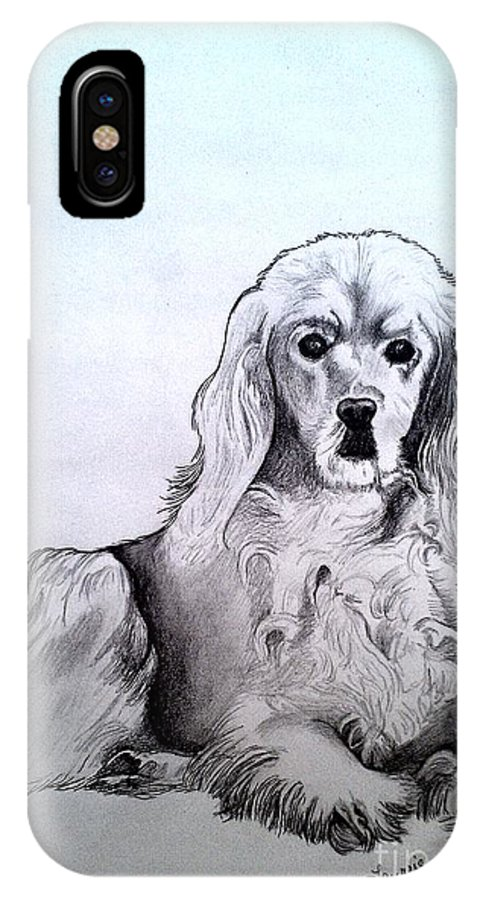 Golden Cocker Spaniel IPhone X Case featuring the drawing Willow 2 by Laurrie Lloyd