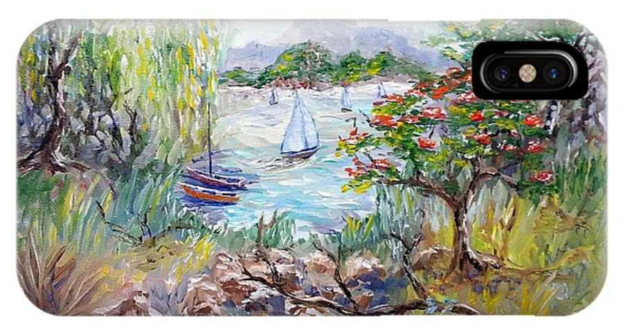 Tropical IPhone X Case featuring the painting Willow By The Sea by David Francke