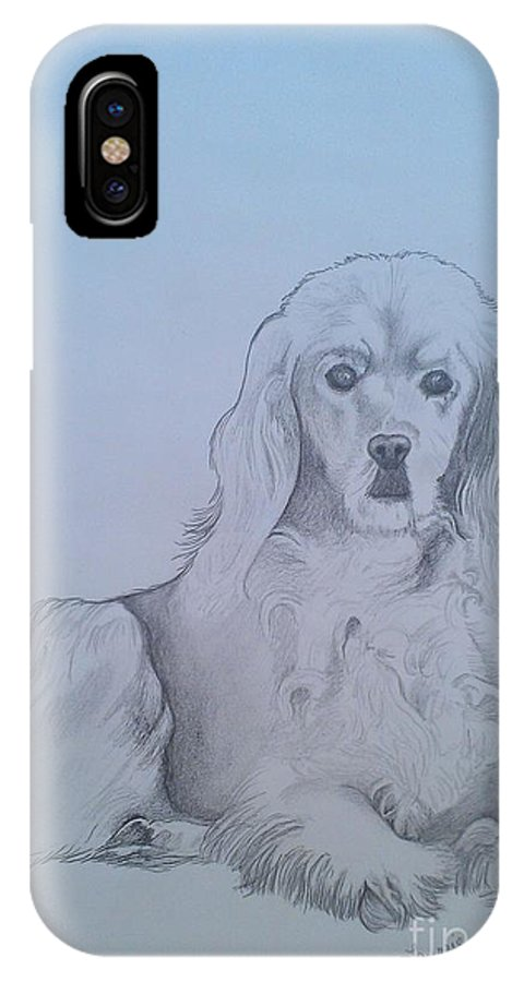 Golden Cocker Spaniel IPhone X Case featuring the drawing Willow by Laurrie Lloyd