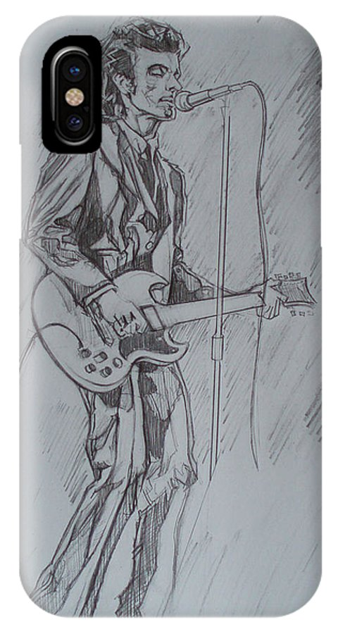 Pencil IPhone X Case featuring the drawing Willy Deville - Steady Drivin' Man by Sean Connolly