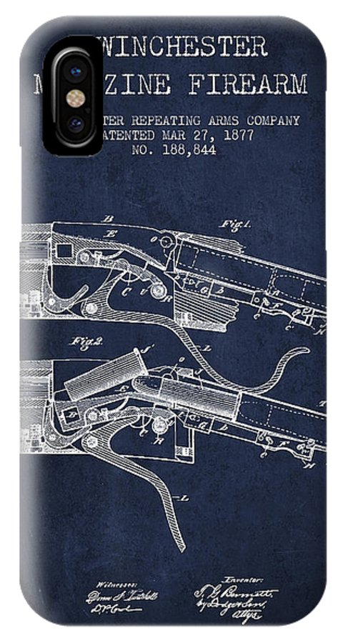 Winchester IPhone X / XS Case featuring the digital art Winchester Firearm Patent Drawing From 1877 - Navy Blue by Aged Pixel