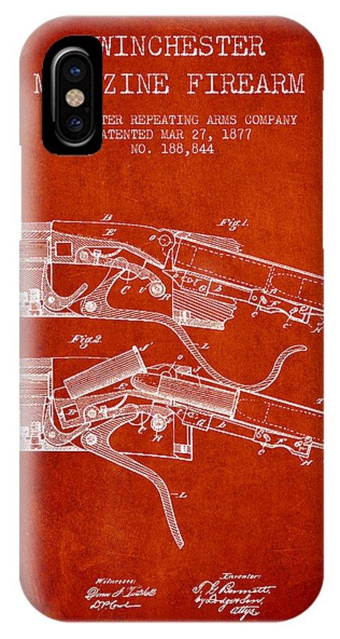Winchester IPhone X / XS Case featuring the digital art Winchester Firearm Patent Drawing From 1877 - Red by Aged Pixel