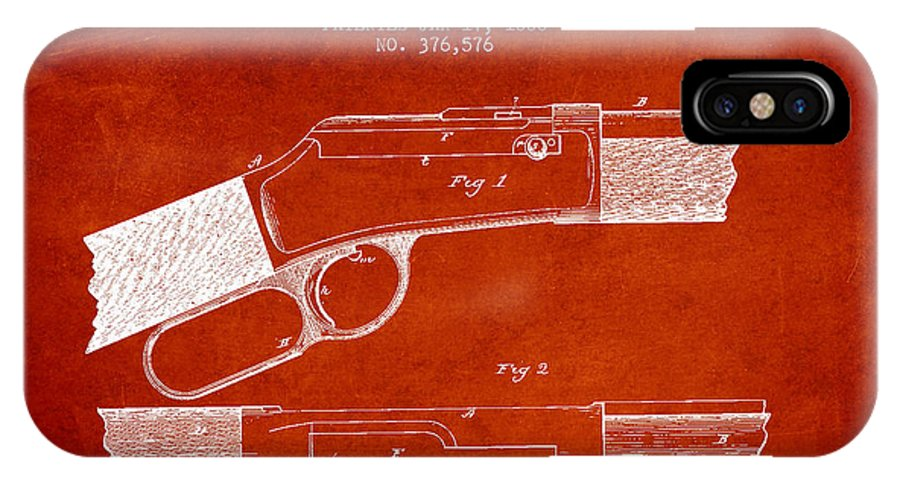 Winchester IPhone X / XS Case featuring the digital art Winchester Firearm Patent Drawing From 1888- Red by Aged Pixel