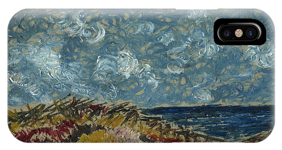 Blue Sky Wind Clouds Seascape Sea Ocean Bluffs Lonely Hill Grasses Yellow Flowers Red Shrubs Waves Windy Cathy Peterson IPhone X Case featuring the painting Wind Blowing The Clouds Around Over The Sea. Rincon Ventura California by Cathy Peterson