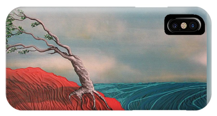 Wind Swept Tree IPhone X Case featuring the painting Wind Swept Tree by Joan Stratton