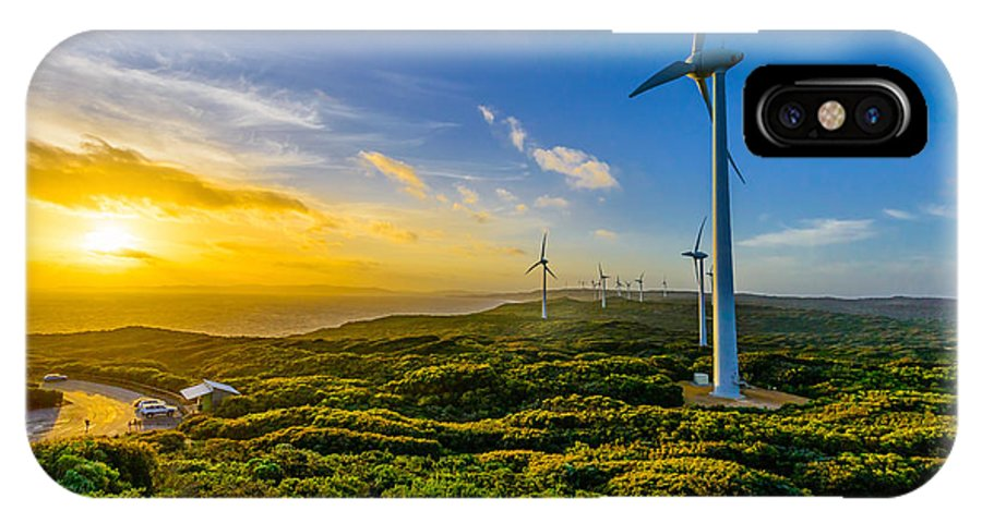 Sunset IPhone X Case featuring the photograph Windfarm Sunset by Les Lovett