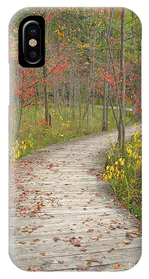Autumn IPhone X Case featuring the photograph Winding Woods Walk by Ann Horn