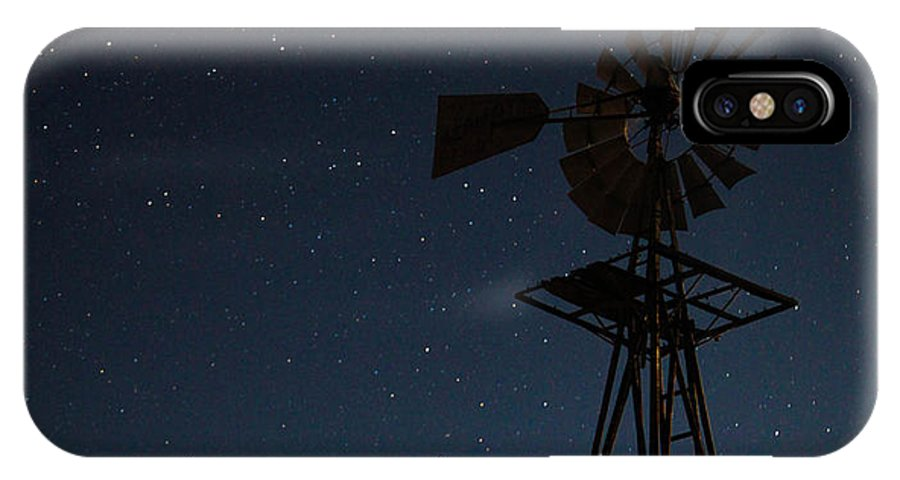 Windmill IPhone X Case featuring the photograph Windmill In The Moonlight by Mark Short