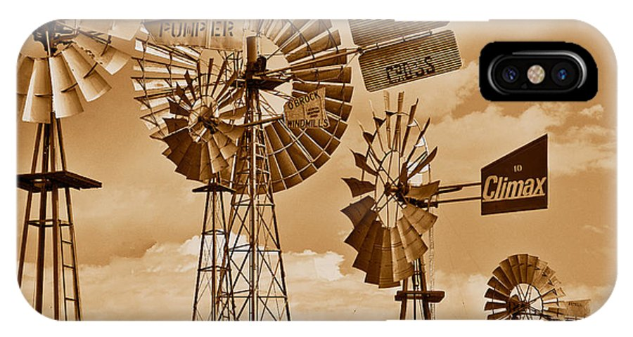 Windmills In Sepia IPhone X Case featuring the photograph Windmills In Sepia by Mae Wertz