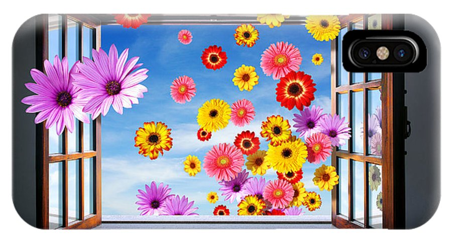 Abstract IPhone X Case featuring the photograph Window Of Flowers by Carlos Caetano
