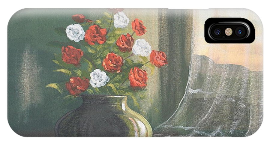 Roses IPhone X Case featuring the painting Window Roses by Cathal O malley