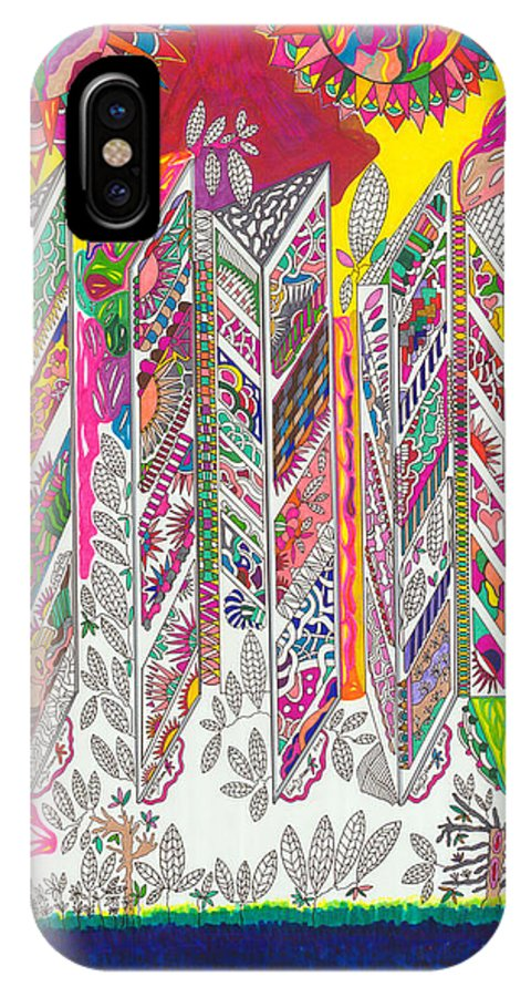 Abstract Drawing IPhone X Case featuring the painting Windows In Heaven by Eric Devan