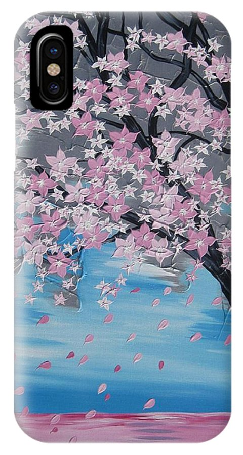 Cherry Blossom IPhone X Case featuring the painting Windswept Blossoms by Cathy Jacobs