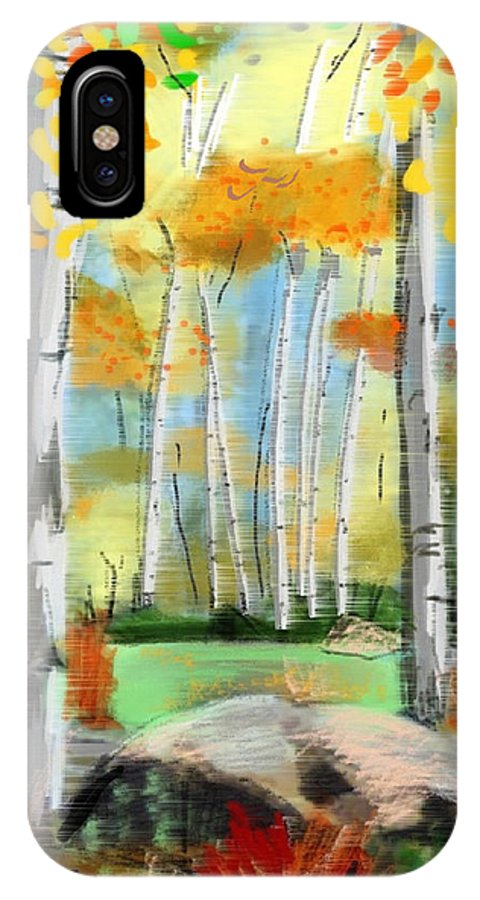 Windy Day In The Aspens IPhone X Case featuring the painting Windy Day In The Aspens by Craig Nelson