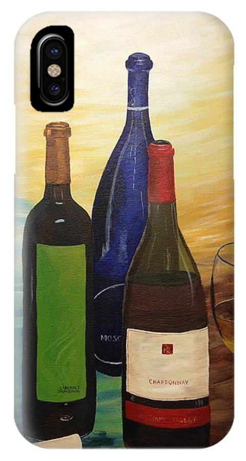 Wine Bottles IPhone X Case featuring the painting Wine Bottles by Shea Temples