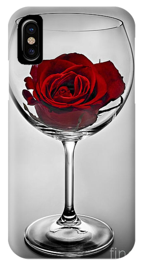Glass IPhone X Case featuring the photograph Wine Glass With Rose by Elena Elisseeva