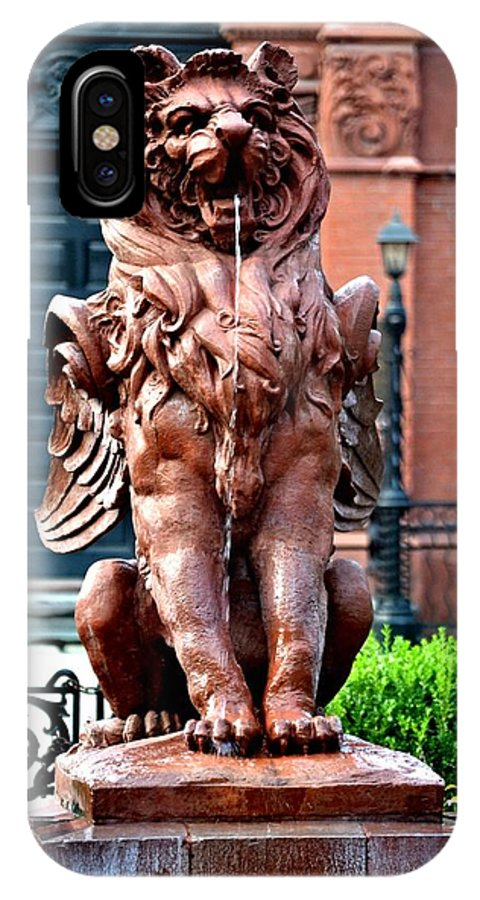 Fountain IPhone X Case featuring the photograph Winged Lion Fountain by Tara Potts