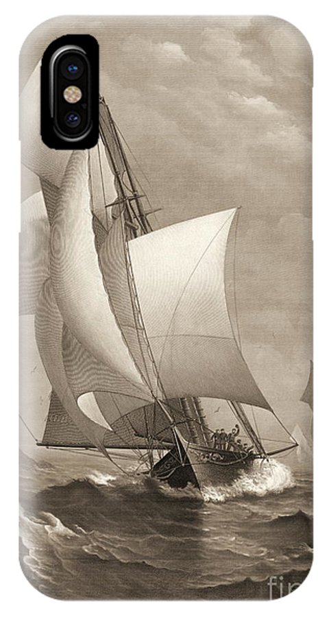 Winning Yacht 1885 IPhone X Case featuring the photograph Winning Yacht 1885 by Padre Art