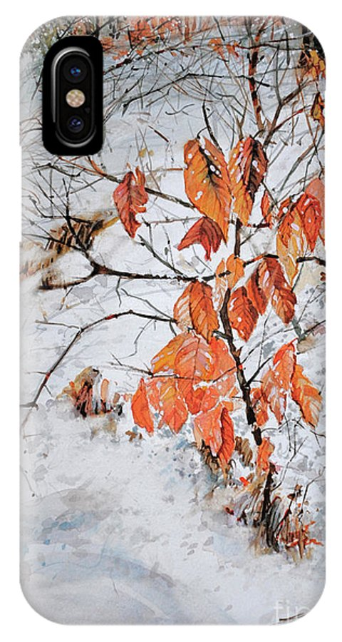 Winter IPhone X Case featuring the painting Winter Ash by P Anthony Visco