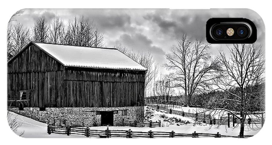 Barn IPhone X Case featuring the photograph Winter Barn Monochrome by Steve Harrington
