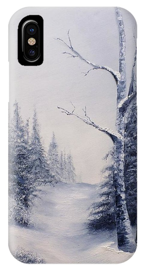 Winter IPhone X Case featuring the painting Winter Birches by Peggy King