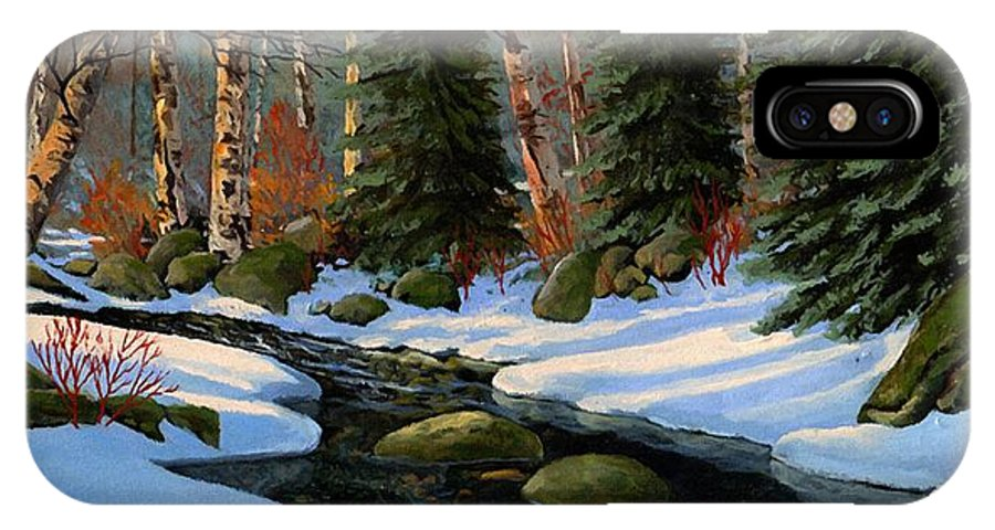Landscape IPhone Case featuring the painting Winter Brook by Frank Wilson