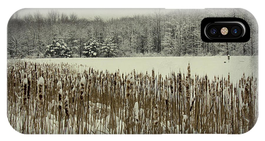 Winter IPhone X Case featuring the photograph Winter By The Pond by Marina Kojukhova