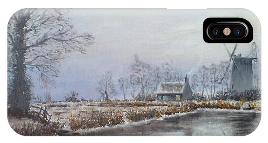Landscape IPhone X Case featuring the painting Winter By The River by Phil Cockton