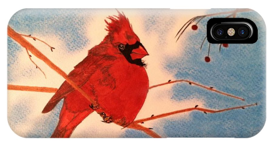 Birds IPhone X Case featuring the drawing Winter Cardinal by Tony Clark