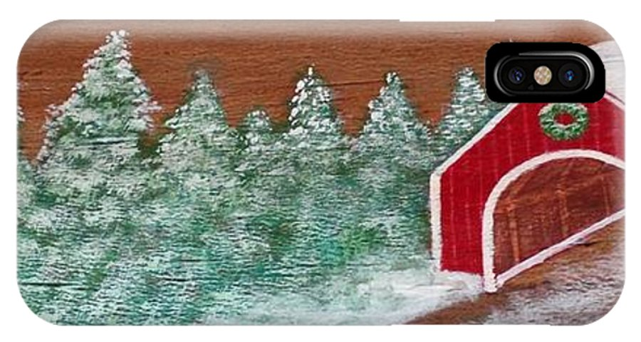 Karen Sysyn IPhone X / XS Case featuring the painting Winter Covered Bridge by Karen Sysyn