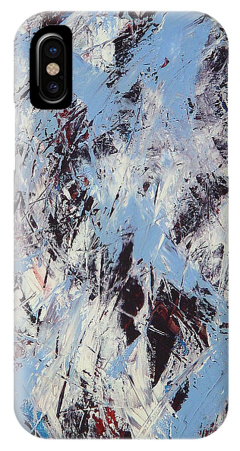 Abstract IPhone X Case featuring the painting Winter by Dean Triolo