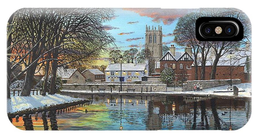Tickhill IPhone X Case featuring the painting Winter Evening Tickhill Yorkshire by Richard Harpum
